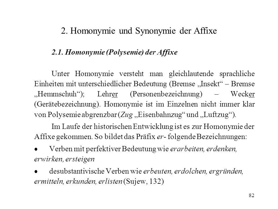 82 2. Homonymie und Synonymie der Affixe 2.1. Homonymie (Polysemie) der Affixe Unter Homonymie versteht man gleichlautende sprachliche Einheiten mit u