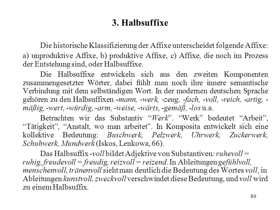 89 3. Halbsuffixe Die historische Klassifizierung der Affixe unterscheidet folgende Affixe: a) unproduktive Affixe, b) produktive Affixe, c) Affixe, d