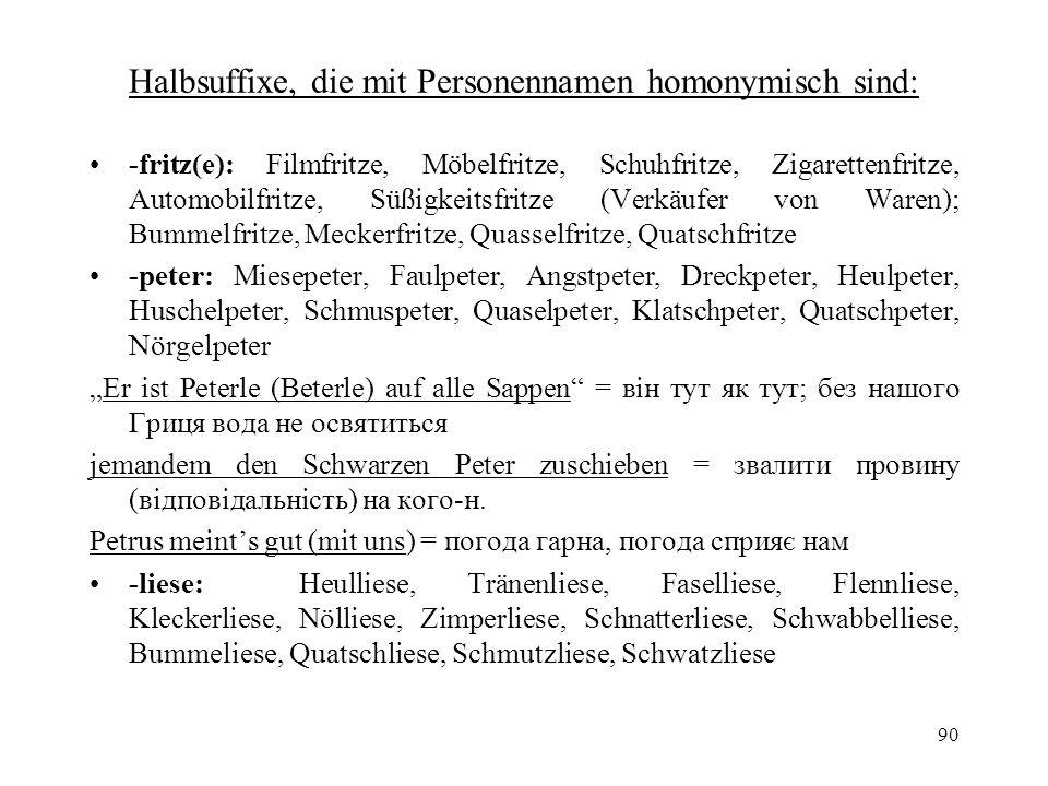 90 Halbsuffixe, die mit Personennamen homonymisch sind: -fritz(e): Filmfritze, Möbelfritze, Schuhfritze, Zigarettenfritze, Automobilfritze, Süßigkeits