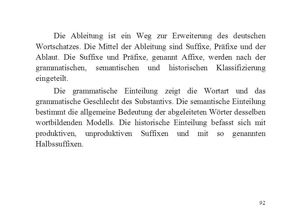 92 Die Ableitung ist ein Weg zur Erweiterung des deutschen Wortschatzes. Die Mittel der Ableitung sind Suffixe, Präfixe und der Ablaut. Die Suffixe un