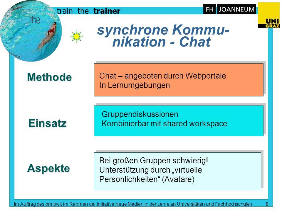 train the trainer Im Auftrag des bm:bwk im Rahmen der Initiative Neue Medien in der Lehre an Universitäten und Fachhochschulen 9 Virt.