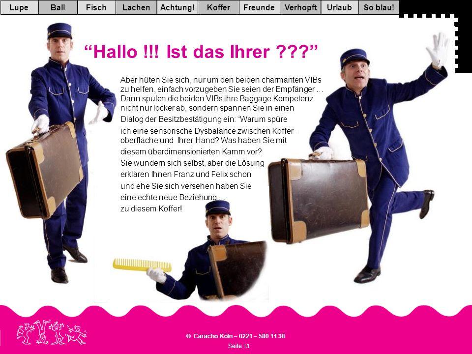 Seite 13 © Caracho-Köln – 0221 – 580 11 38 VerhopftFreundeKofferAchtung!LachenFischUrlaubBallSo blau!Lupe Hallo !!.