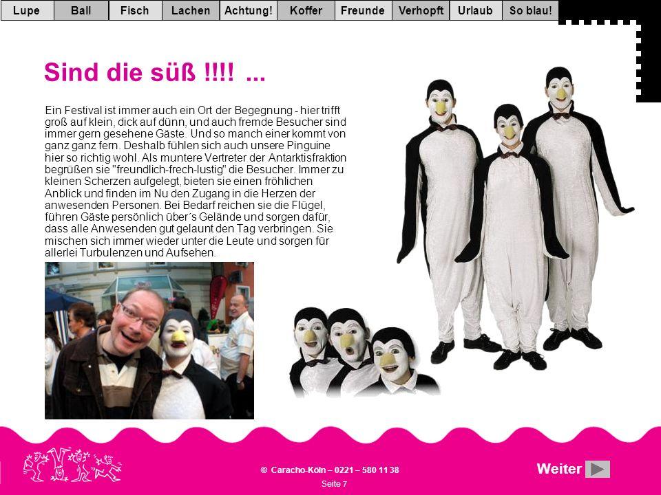 Seite 7 © Caracho-Köln – 0221 – 580 11 38 VerhopftFreundeKofferAchtung!LachenFischUrlaubBallSo blau!Lupe Sind die süß !!!!...