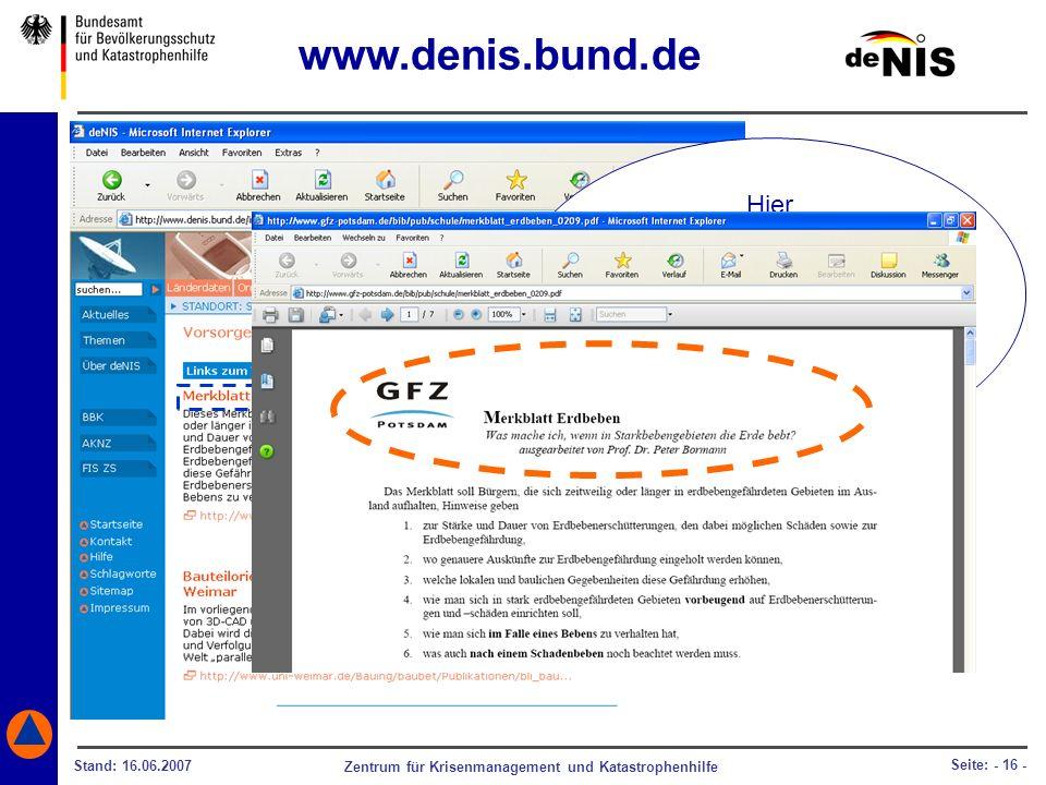 Zentrum für Krisenmanagement und Katastrophenhilfe Stand: 16.06.2007 Seite: - 16 - Hier gelangen Sie direkt zu der entsprechenden Internetseite des Ge