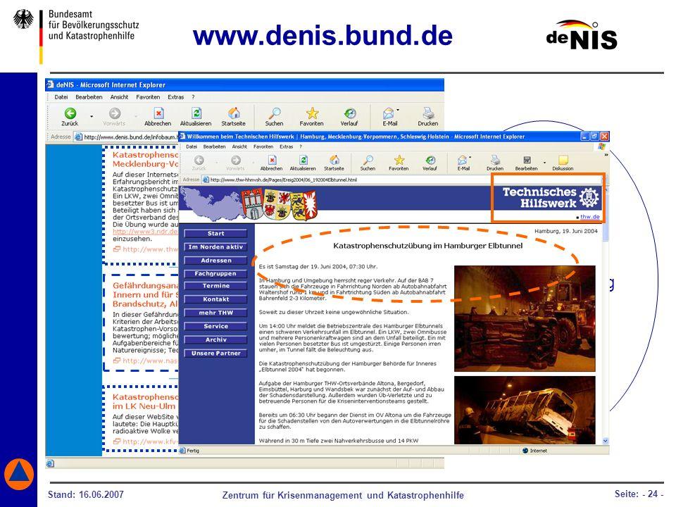 Zentrum für Krisenmanagement und Katastrophenhilfe Stand: 16.06.2007 Seite: - 24 - Eine umfangreiche Sammlung über Einsatzerfahrung, Übungsauswertung,