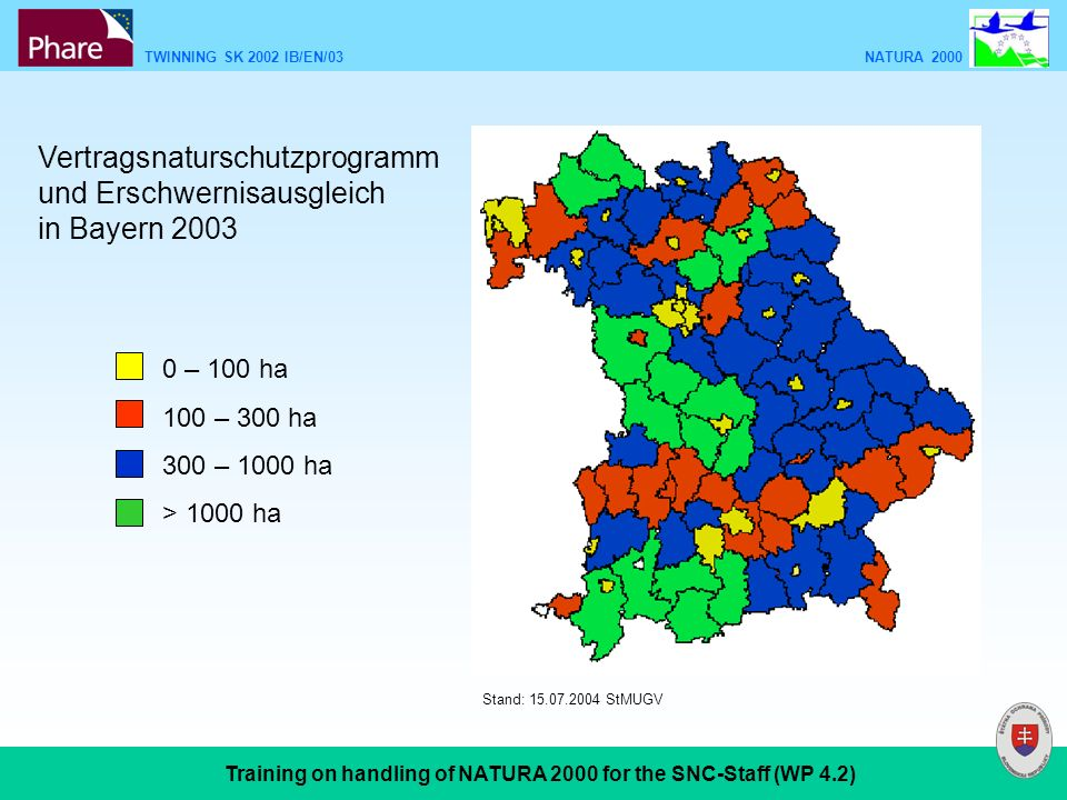 TWINNING SK 2002 IB/EN/03 NATURA 2000 Training on handling of NATURA 2000 for the SNC-Staff (WP 4.2) Vertragsnaturschutzprogramm und Erschwernisausgleich in Bayern 2003 0 – 100 ha 100 – 300 ha 300 – 1000 ha > 1000 ha Stand: 15.07.2004 StMUGV