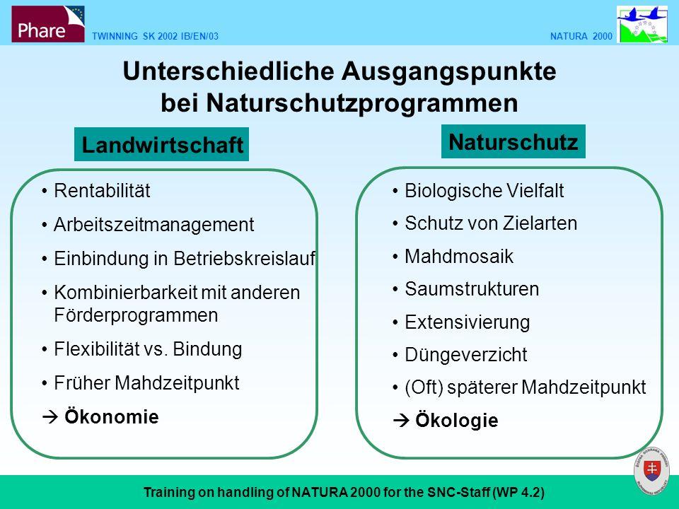TWINNING SK 2002 IB/EN/03 NATURA 2000 Training on handling of NATURA 2000 for the SNC-Staff (WP 4.2) Biologische Vielfalt Schutz von Zielarten Mahdmos