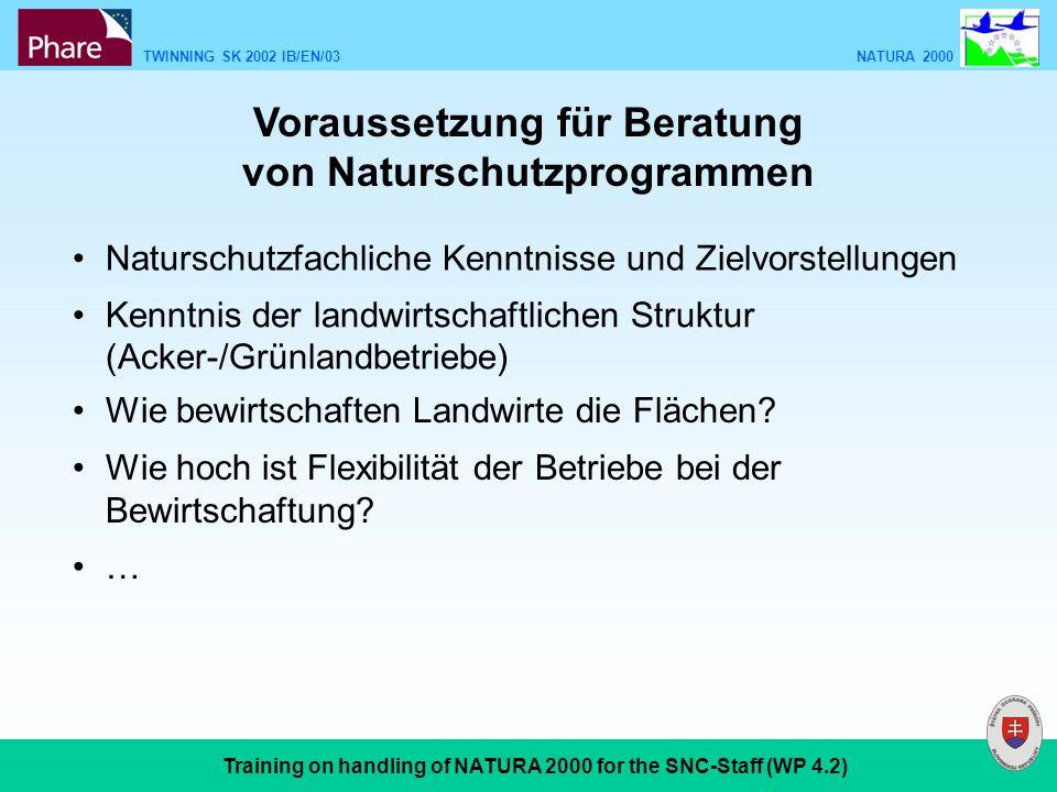TWINNING SK 2002 IB/EN/03 NATURA 2000 Training on handling of NATURA 2000 for the SNC-Staff (WP 4.2) Voraussetzung für Beratung von Naturschutzprogram