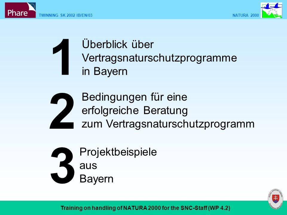 TWINNING SK 2002 IB/EN/03 NATURA 2000 Training on handling of NATURA 2000 for the SNC-Staff (WP 4.2) Überblick über Vertragsnaturschutzprogramme in Bayern 1 2 3 Bedingungen für eine erfolgreiche Beratung zum Vertragsnaturschutzprogramm Projektbeispiele aus Bayern