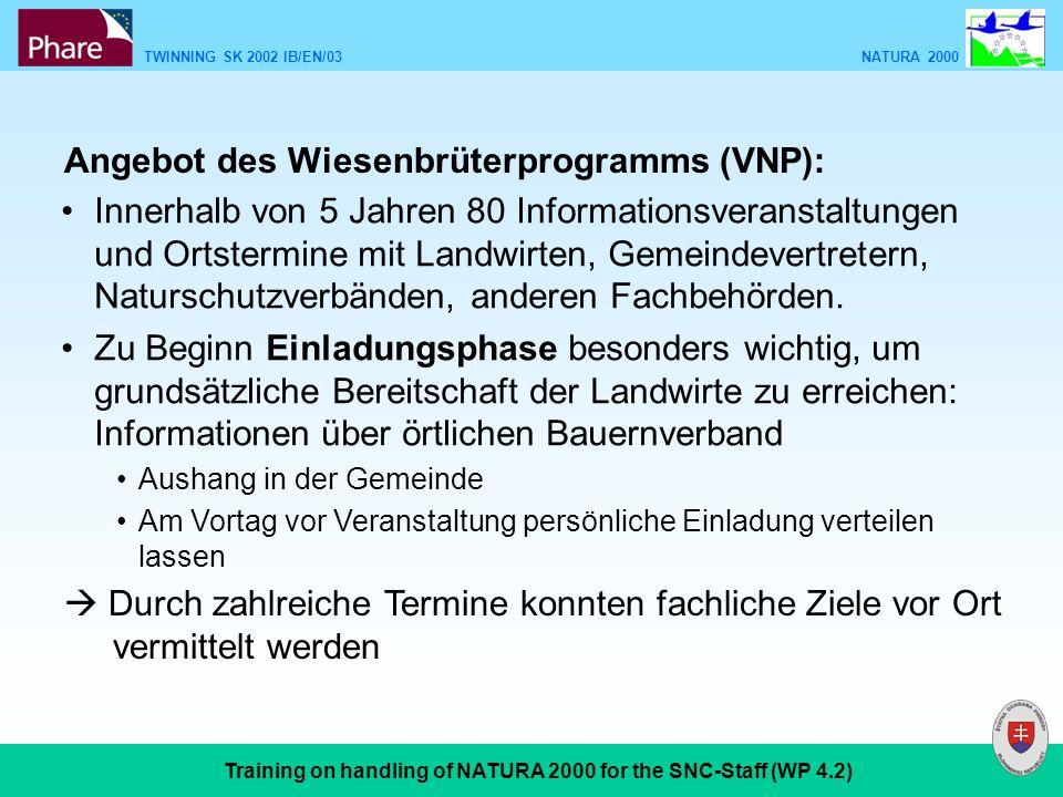 TWINNING SK 2002 IB/EN/03 NATURA 2000 Training on handling of NATURA 2000 for the SNC-Staff (WP 4.2) Angebot des Wiesenbrüterprogramms (VNP): Innerhal