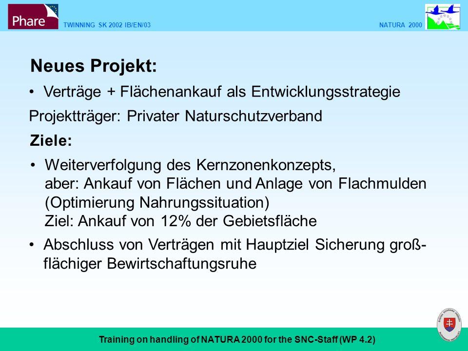 TWINNING SK 2002 IB/EN/03 NATURA 2000 Training on handling of NATURA 2000 for the SNC-Staff (WP 4.2) Neues Projekt: Verträge + Flächenankauf als Entwi