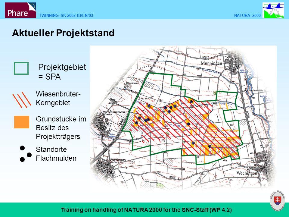 TWINNING SK 2002 IB/EN/03 NATURA 2000 Training on handling of NATURA 2000 for the SNC-Staff (WP 4.2) Projektgebiet = SPA Wiesenbrüter- Kerngebiet Grundstücke im Besitz des Projektträgers Standorte Flachmulden Aktueller Projektstand