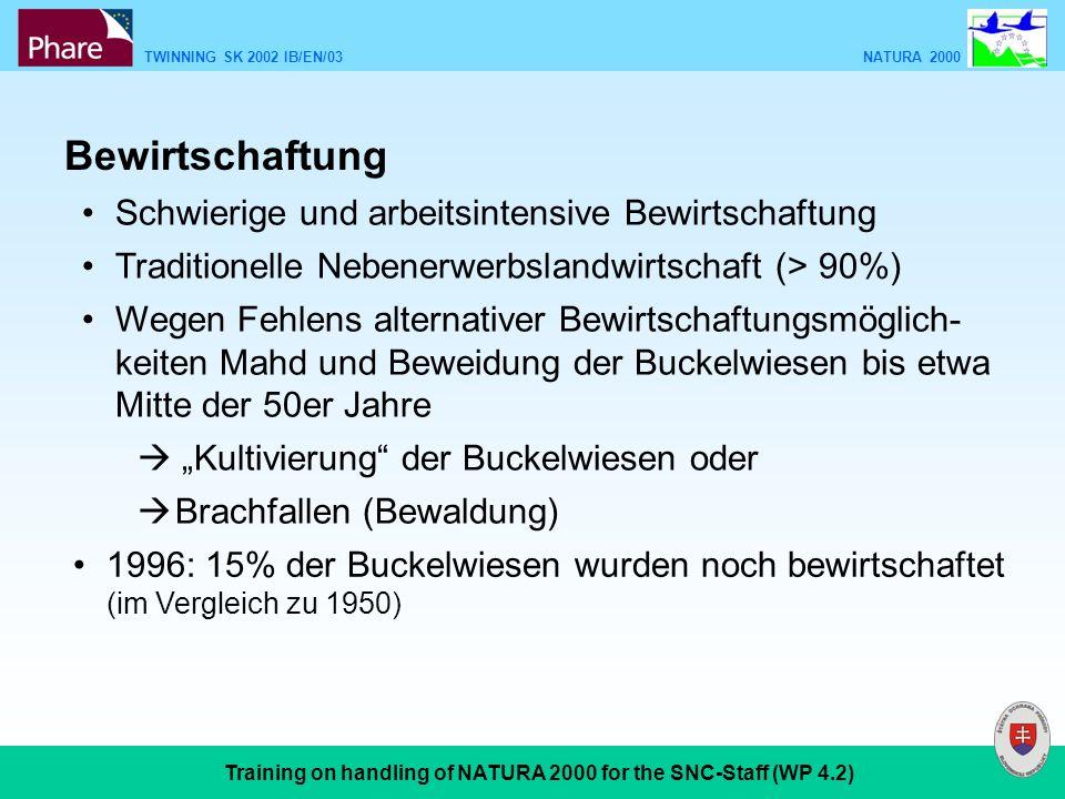 TWINNING SK 2002 IB/EN/03 NATURA 2000 Training on handling of NATURA 2000 for the SNC-Staff (WP 4.2) Bewirtschaftung Schwierige und arbeitsintensive Bewirtschaftung Traditionelle Nebenerwerbslandwirtschaft (> 90%) Wegen Fehlens alternativer Bewirtschaftungsmöglich- keiten Mahd und Beweidung der Buckelwiesen bis etwa Mitte der 50er Jahre Kultivierung der Buckelwiesen oder Brachfallen (Bewaldung) 1996: 15% der Buckelwiesen wurden noch bewirtschaftet (im Vergleich zu 1950)