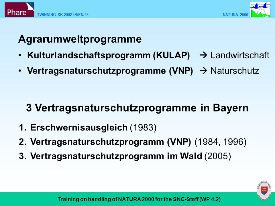 TWINNING SK 2002 IB/EN/03 NATURA 2000 Training on handling of NATURA 2000 for the SNC-Staff (WP 4.2) 3 Vertragsnaturschutzprogramme in Bayern 1.Erschwernisausgleich (1983) 2.Vertragsnaturschutzprogramm (VNP) (1984, 1996) 3.Vertragsnaturschutzprogramm im Wald (2005) Agrarumweltprogramme Kulturlandschaftsprogramm (KULAP) Landwirtschaft Vertragsnaturschutzprogramme (VNP) Naturschutz