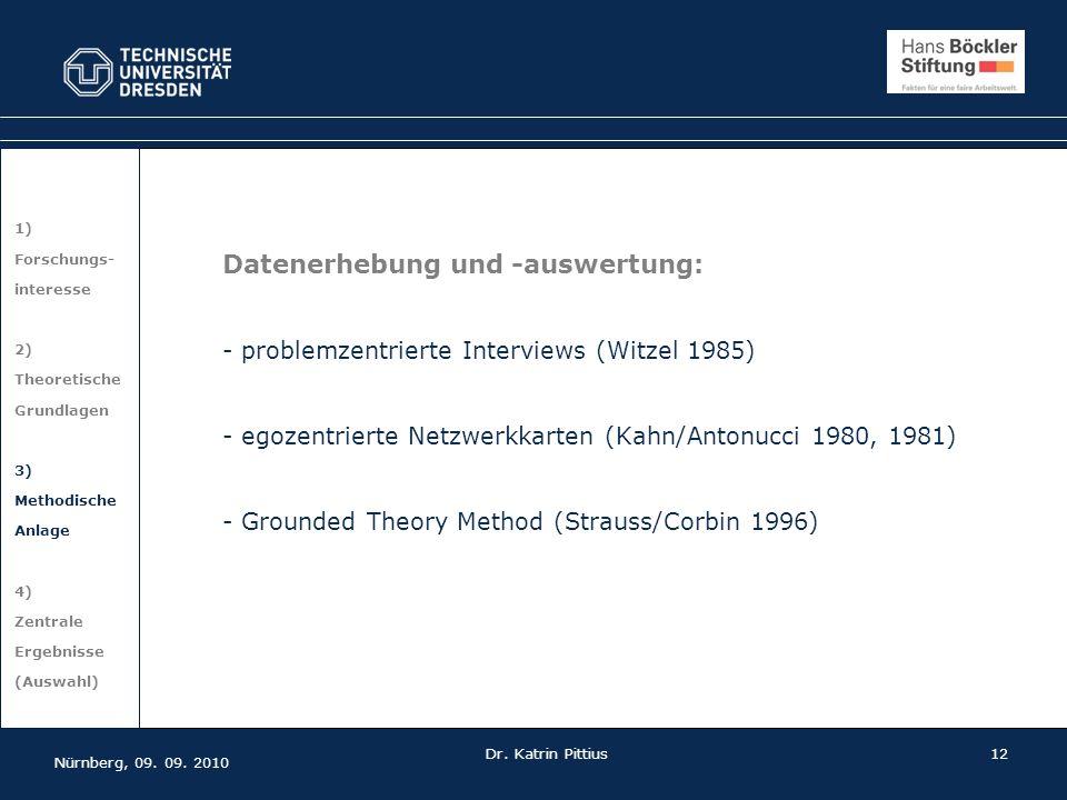 12 1) Forschungs- interesse 2) Theoretische Grundlagen 3) Methodische Anlage 4) Zentrale Ergebnisse (Auswahl) Datenerhebung und -auswertung: - problem