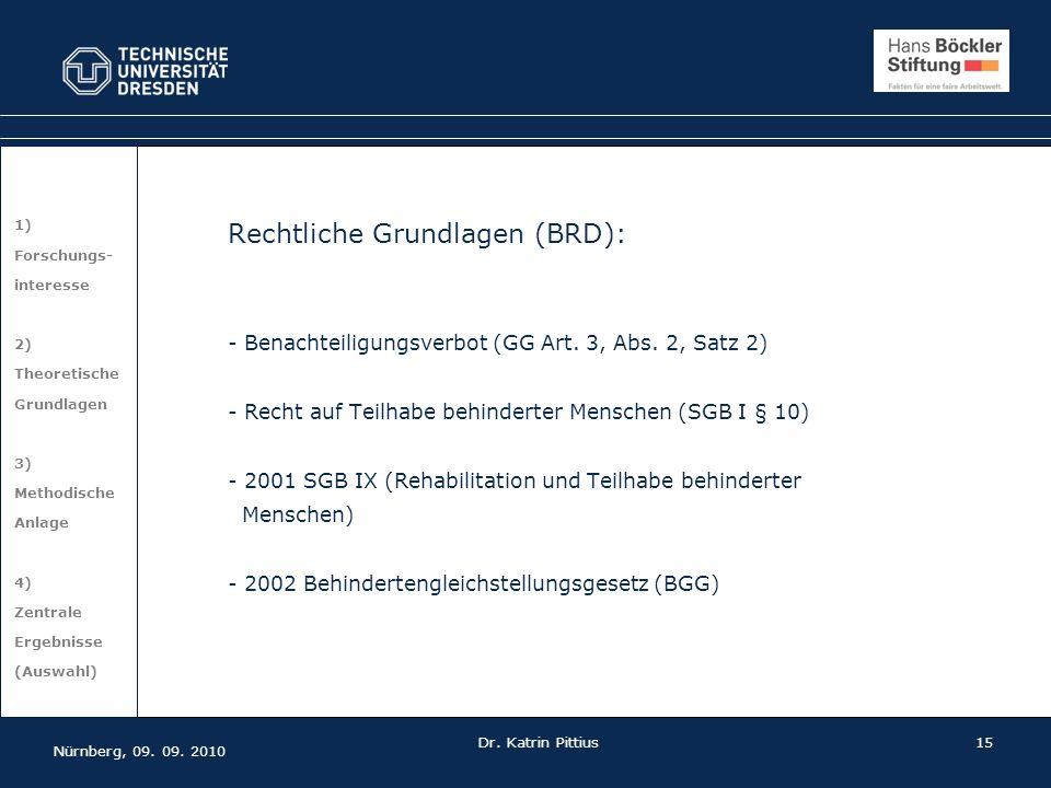 15 1) Forschungs- interesse 2) Theoretische Grundlagen 3) Methodische Anlage 4) Zentrale Ergebnisse (Auswahl) Rechtliche Grundlagen (BRD): - Benachtei