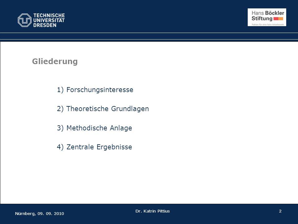 Nürnberg, 09. 09. 2010 Dr. Katrin Pittius 2 Gliederung 1) Forschungsinteresse 2) Theoretische Grundlagen 3) Methodische Anlage 4) Zentrale Ergebnisse