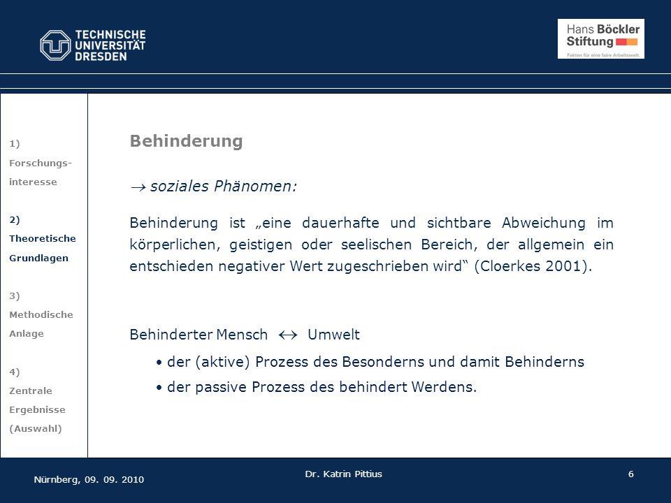 6 1) Forschungs- interesse 2) Theoretische Grundlagen 3) Methodische Anlage 4) Zentrale Ergebnisse (Auswahl) Nürnberg, 09. 09. 2010 Dr. Katrin Pittius