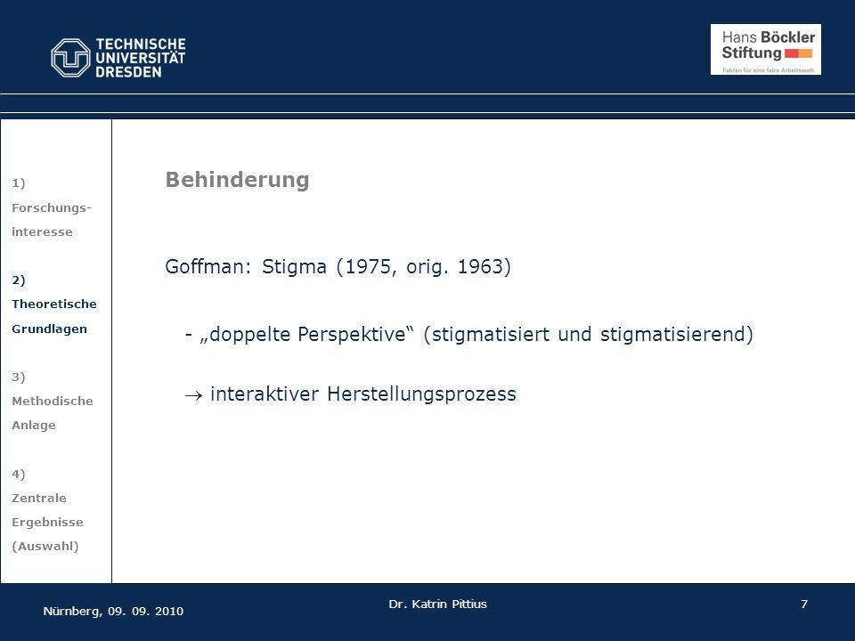 7 1) Forschungs- interesse 2) Theoretische Grundlagen 3) Methodische Anlage 4) Zentrale Ergebnisse (Auswahl) Nürnberg, 09. 09. 2010 Dr. Katrin Pittius