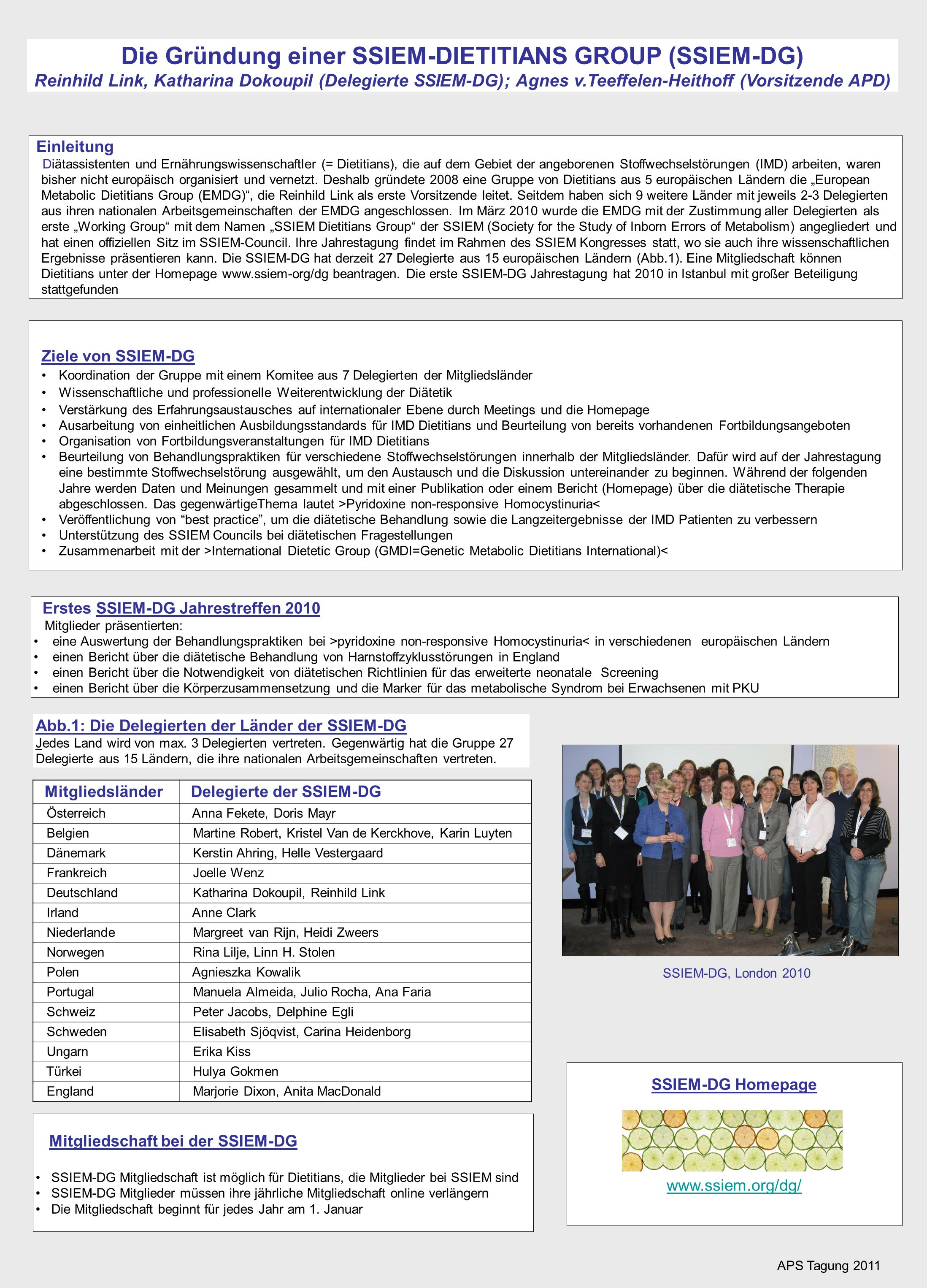 Die Gründung einer SSIEM-DIETITIANS GROUP (SSIEM-DG) Reinhild Link, Katharina Dokoupil (Delegierte SSIEM-DG); Agnes v.Teeffelen-Heithoff (Vorsitzende