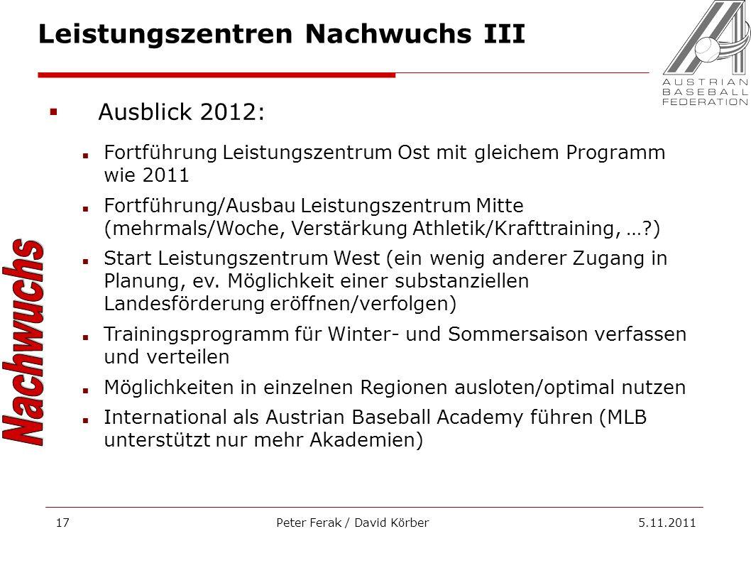 Peter Ferak / David Körber 5.11.201117 Leistungszentren Nachwuchs III Ausblick 2012: Fortführung Leistungszentrum Ost mit gleichem Programm wie 2011 F