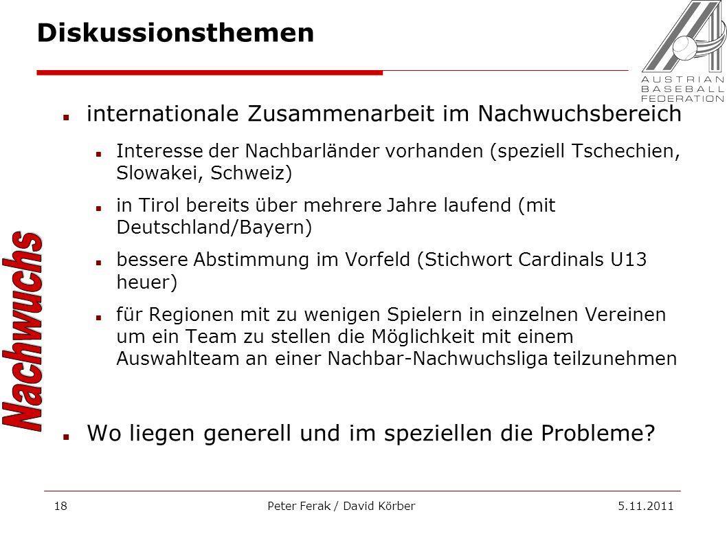 Peter Ferak / David Körber 5.11.201118 internationale Zusammenarbeit im Nachwuchsbereich Interesse der Nachbarländer vorhanden (speziell Tschechien, S