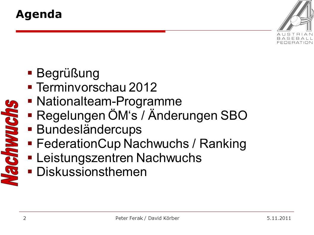 Peter Ferak / David Körber 5.11.20112 Begrüßung Terminvorschau 2012 Nationalteam-Programme Regelungen ÖMs / Änderungen SBO Bundesländercups Federation
