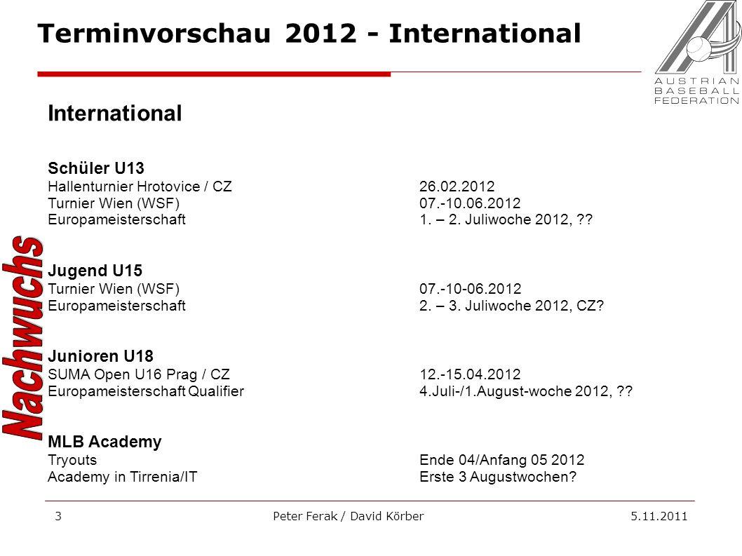 Peter Ferak / David Körber 5.11.20113 International Schüler U13 Hallenturnier Hrotovice / CZ26.02.2012 Turnier Wien (WSF)07.-10.06.2012 Europameisters