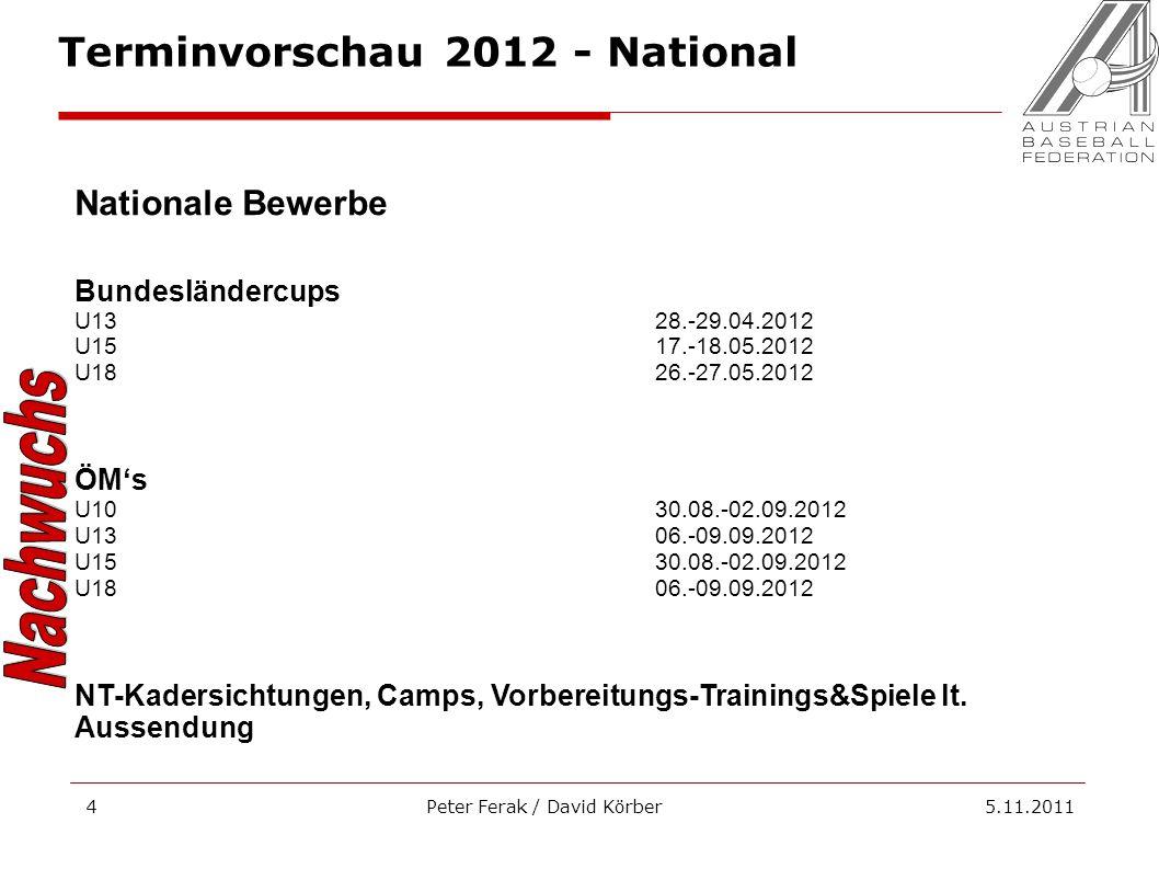 Peter Ferak / David Körber 5.11.20114 Nationale Bewerbe Bundesländercups U1328.-29.04.2012 U1517.-18.05.2012 U1826.-27.05.2012 ÖMs U1030.08.-02.09.201
