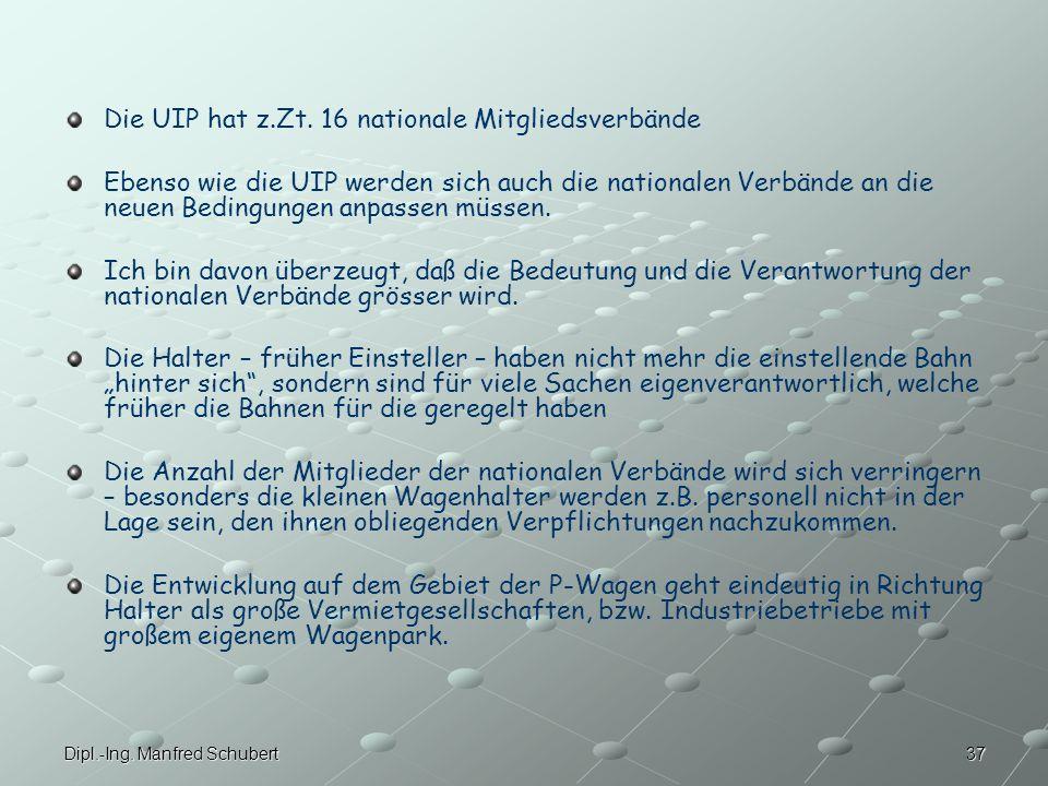 37Dipl.-Ing.Manfred Schubert Die UIP hat z.Zt.