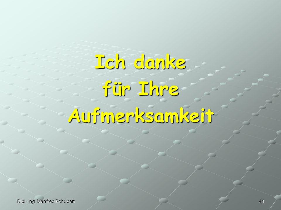 41Dipl.-Ing. Manfred Schubert Ich danke für Ihre Aufmerksamkeit