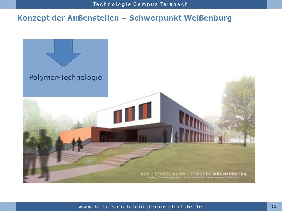 Hochschule für angewandte Wissenschaften Deggendorf Technologie Campus Teisnach Konzept der Außenstellen – Schwerpunkt Weißenburg 10 www.tc-teisnach.h