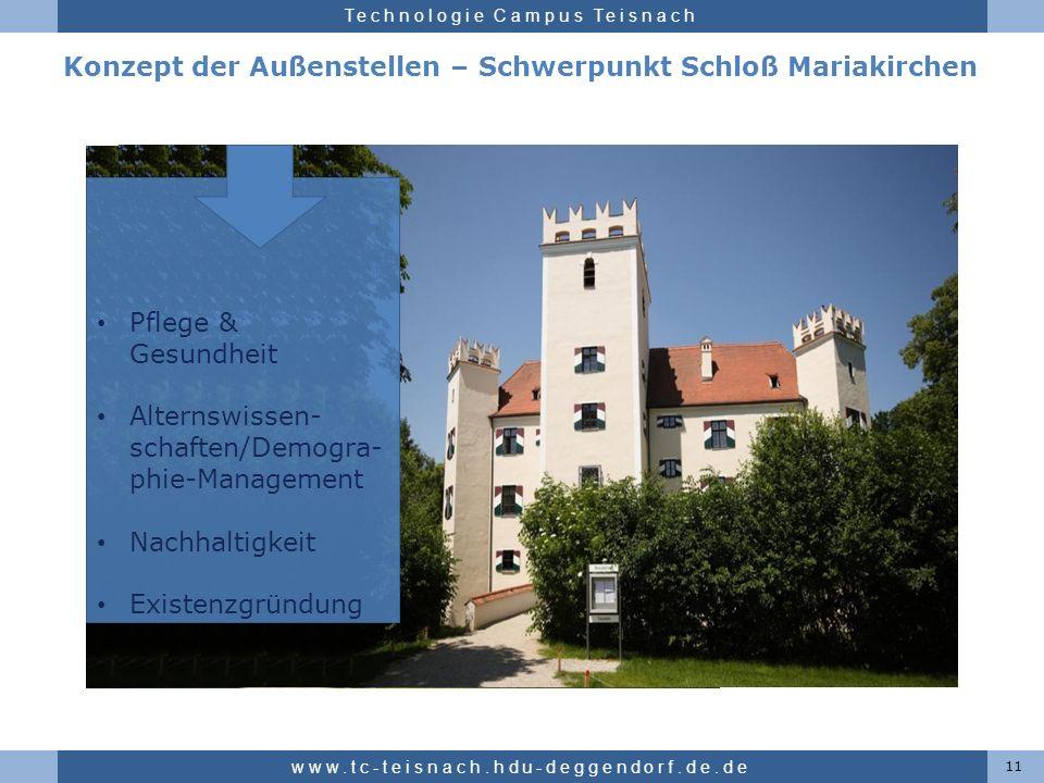 Hochschule für angewandte Wissenschaften Deggendorf Technologie Campus Teisnach Konzept der Außenstellen – Schwerpunkt Schloß Mariakirchen 11 www.tc-t