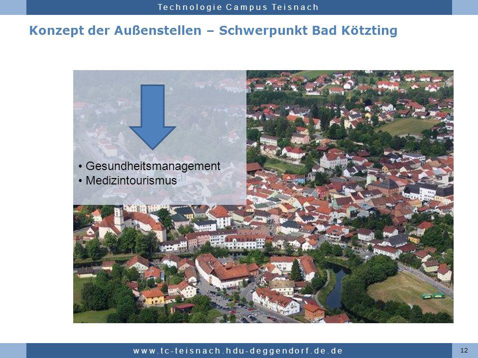 Hochschule für angewandte Wissenschaften Deggendorf Technologie Campus Teisnach Konzept der Außenstellen – Schwerpunkt Bad Kötzting 12 www.tc-teisnach