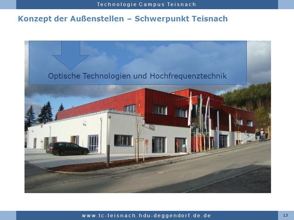 Hochschule für angewandte Wissenschaften Deggendorf Technologie Campus Teisnach Konzept der Außenstellen – Schwerpunkt Teisnach 13 www.tc-teisnach.hdu