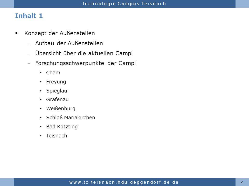 Hochschule für angewandte Wissenschaften Deggendorf Technologie Campus Teisnach Inhalt 1 Konzept der Außenstellen Aufbau der Außenstellen Übersicht üb