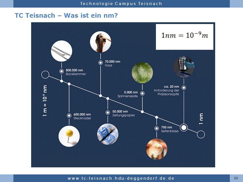 Hochschule für angewandte Wissenschaften Deggendorf Technologie Campus Teisnach TC Teisnach – Was ist ein nm? 20 www.tc-teisnach.hdu-deggendorf.de.de