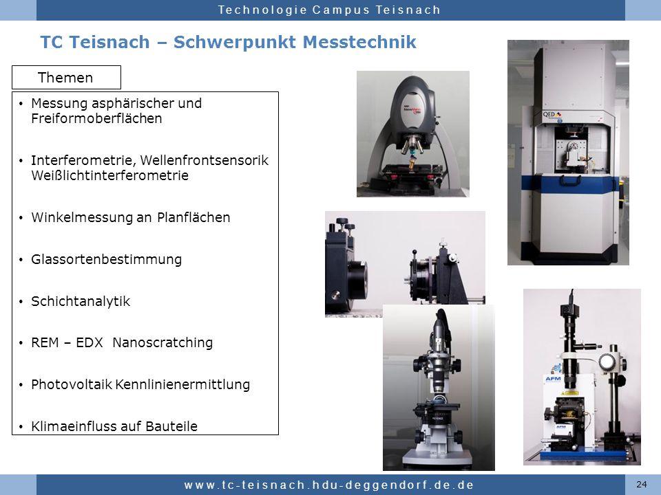 Hochschule für angewandte Wissenschaften Deggendorf Technologie Campus Teisnach TC Teisnach – Schwerpunkt Messtechnik 24 www.tc-teisnach.hdu-deggendor