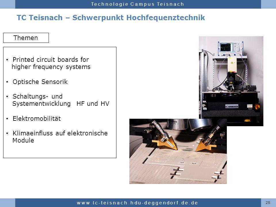 Hochschule für angewandte Wissenschaften Deggendorf Technologie Campus Teisnach TC Teisnach – Schwerpunkt Hochfequenztechnik 25 www.tc-teisnach.hdu-de