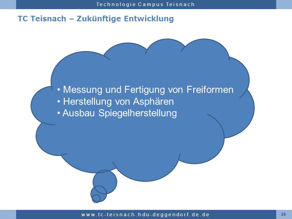 Hochschule für angewandte Wissenschaften Deggendorf Technologie Campus Teisnach TC Teisnach – Zukünftige Entwicklung 26 www.tc-teisnach.hdu-deggendorf