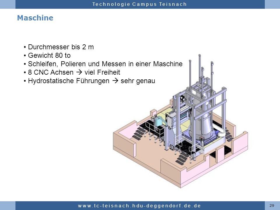 Hochschule für angewandte Wissenschaften Deggendorf Technologie Campus Teisnach Maschine 29 www.tc-teisnach.hdu-deggendorf.de.de Durchmesser bis 2 m G