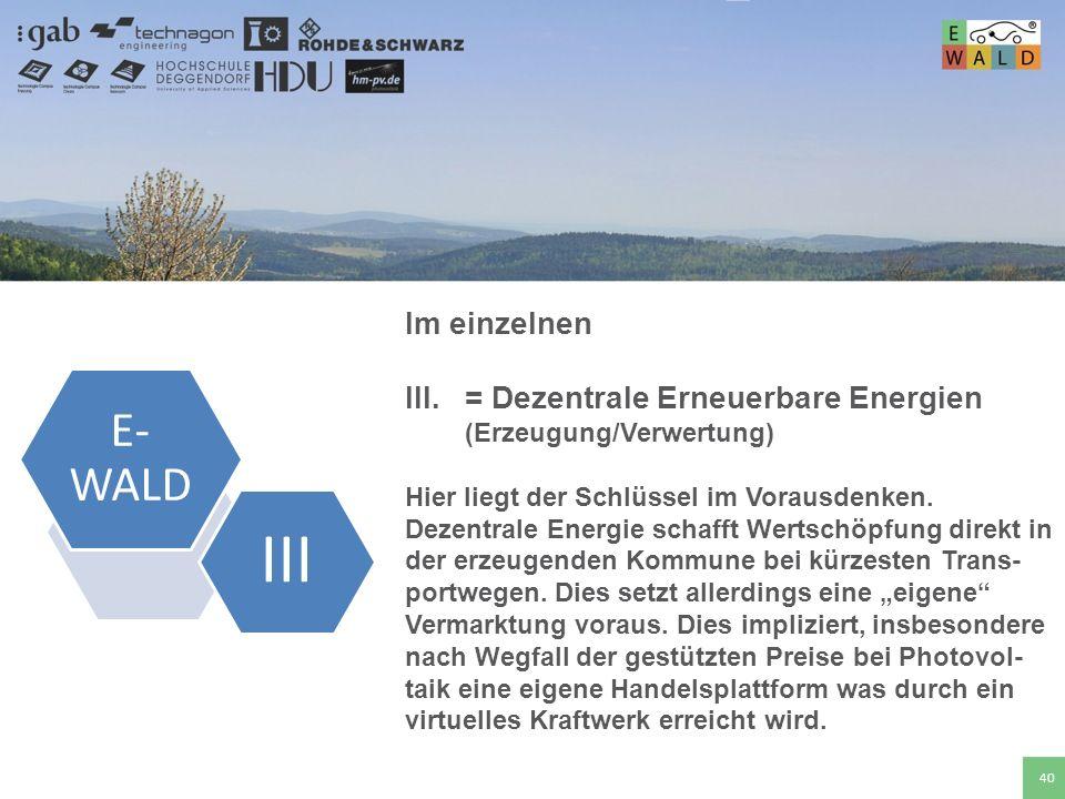 Hochschule für angewandte Wissenschaften Deggendorf 40 Im einzelnen III.= Dezentrale Erneuerbare Energien (Erzeugung/Verwertung) Hier liegt der Schlüs