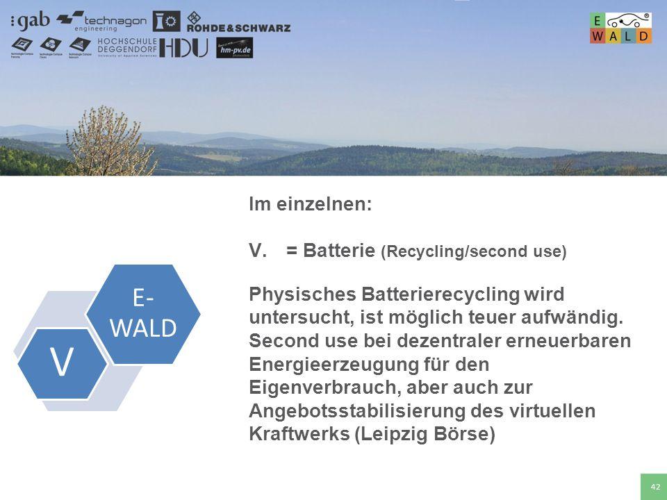 Hochschule für angewandte Wissenschaften Deggendorf 42 Im einzelnen: V.= Batterie (Recycling/second use) Physisches Batterierecycling wird untersucht,