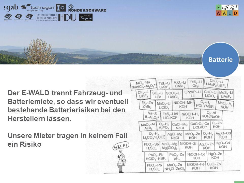 Hochschule für angewandte Wissenschaften Deggendorf 50 VKW LT Der E-WALD trennt Fahrzeug- und Batteriemiete, so dass wir eventuell bestehende Batterie