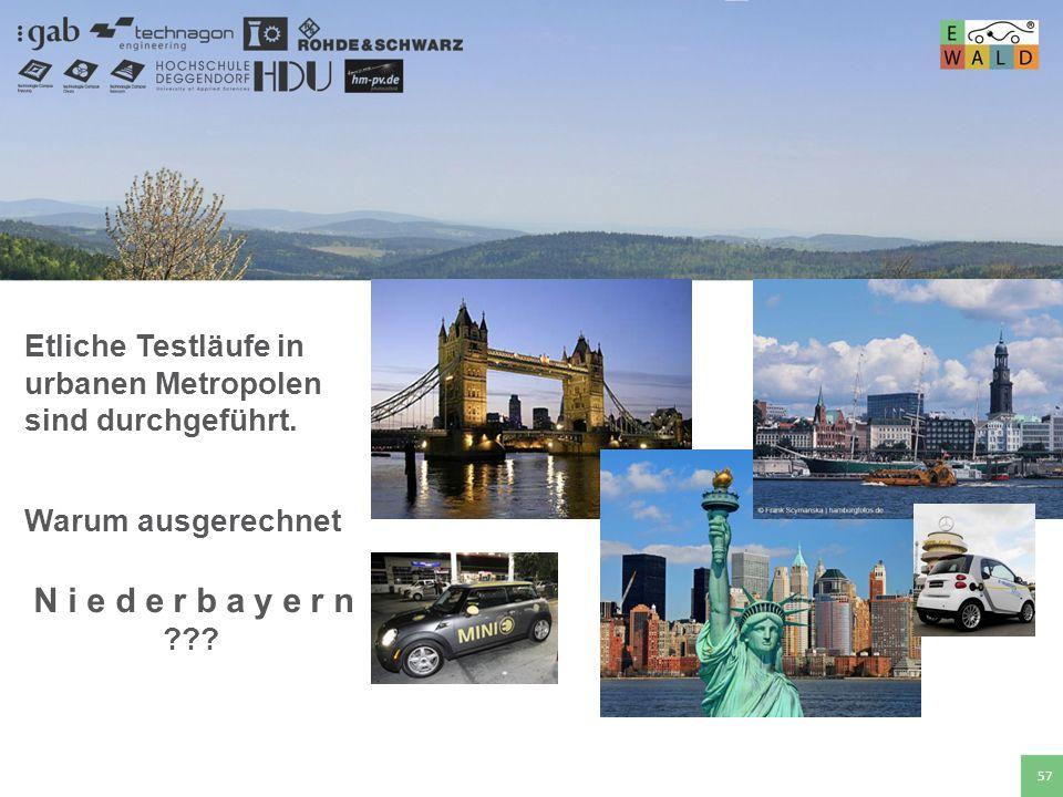 Hochschule für angewandte Wissenschaften Deggendorf 57 Etliche Testläufe in urbanen Metropolen sind durchgeführt. Warum ausgerechnet N i e d e r b a y