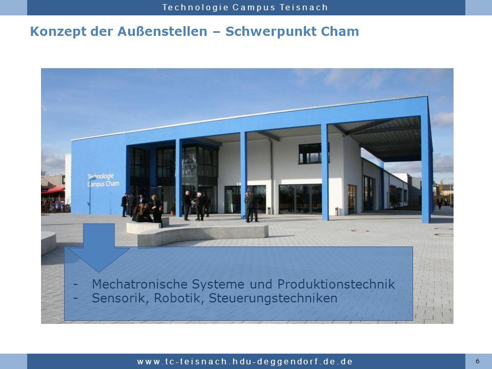 Hochschule für angewandte Wissenschaften Deggendorf Technologie Campus Teisnach Konzept der Außenstellen – Schwerpunkt Cham 6 www.tc-teisnach.hdu-degg