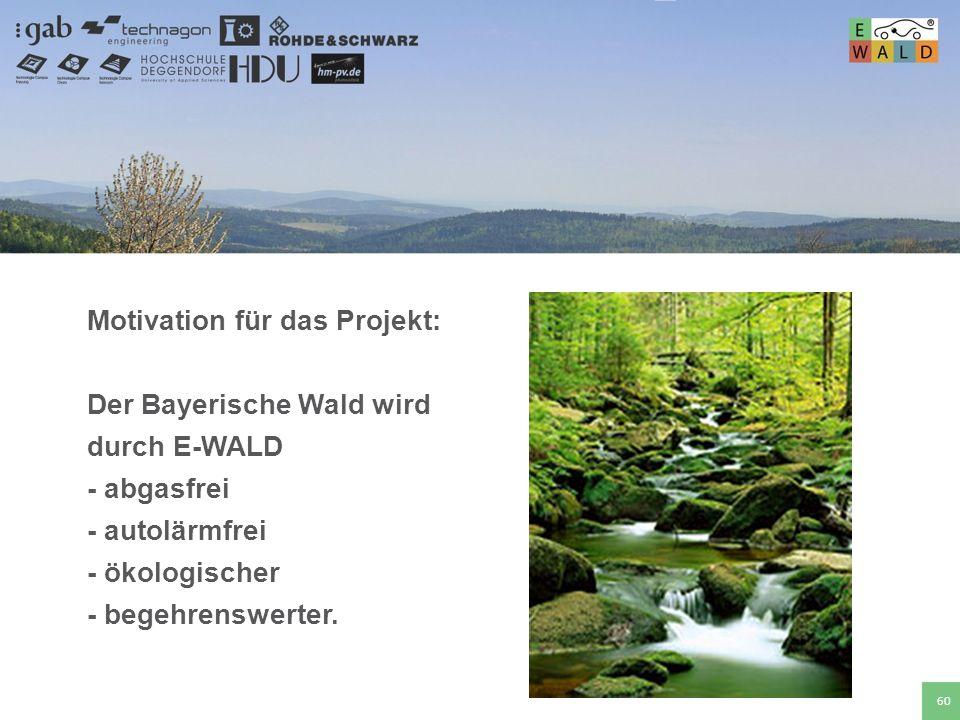 Hochschule für angewandte Wissenschaften Deggendorf 60 Motivation für das Projekt: Der Bayerische Wald wird durch E-WALD - abgasfrei - autolärmfrei -