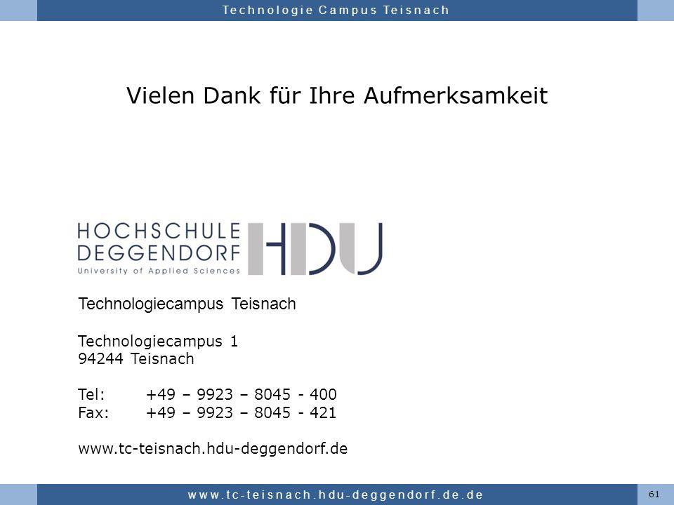 Hochschule für angewandte Wissenschaften Deggendorf Technologie Campus Teisnach Vielen Dank für Ihre Aufmerksamkeit 61 www.tc-teisnach.hdu-deggendorf.