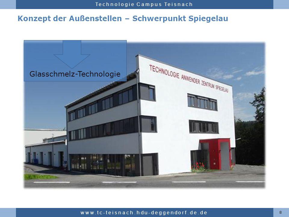 Hochschule für angewandte Wissenschaften Deggendorf Technologie Campus Teisnach Konzept der Außenstellen – Schwerpunkt Spiegelau 8 www.tc-teisnach.hdu