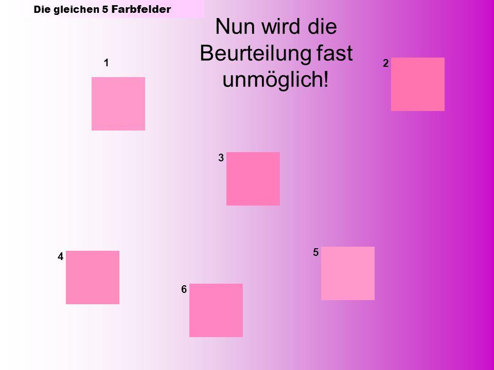 1 2 3 4 5 6 Nun wird die Beurteilung fast unmöglich! Die gleichen 5 Farbfelder